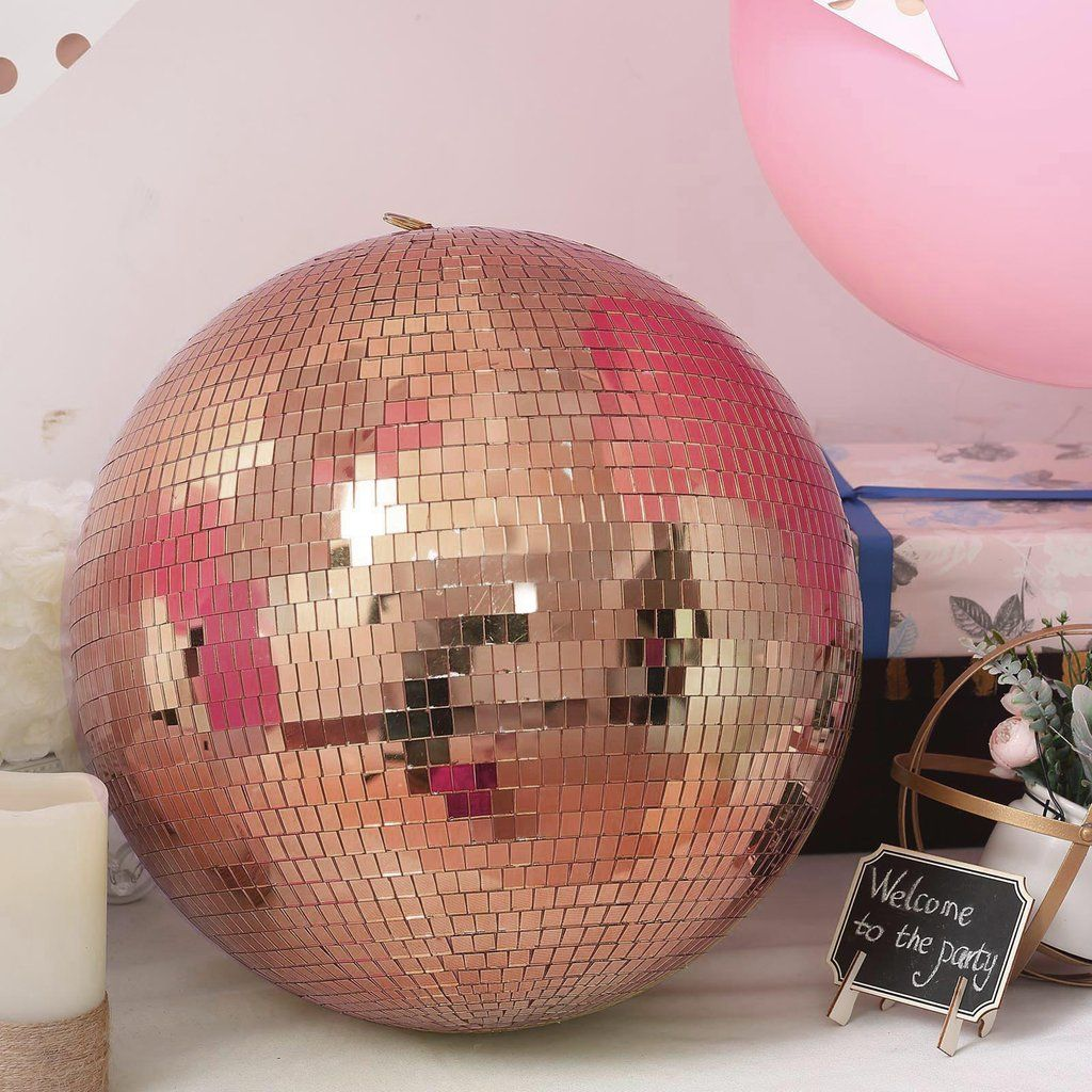 Pack Of 2 10 Rose Gold Disco Mirror Ball Large Disco Ball With Hanging Swivel Ring Mirror Ball Disco Ball Mirror Disco Ball