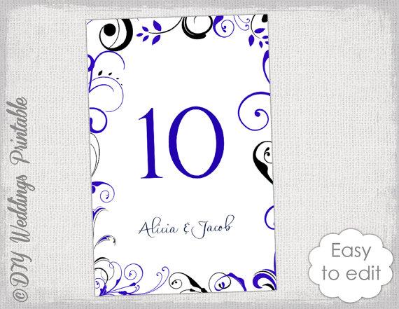 Printable Wedding Table Numbers Royal Blue And Black Wedding Template Diy Sc Wedding Table Numbers Printable Wedding Table Numbers Template Wedding Printables