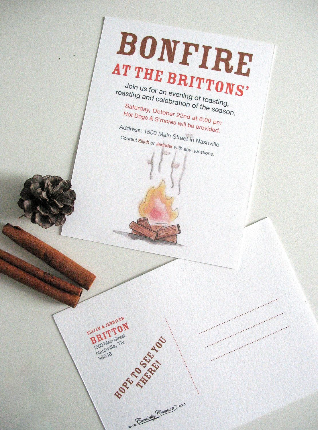 Bonfire and Smore Party Invitation Postcard PERSONALIZED with your ...
