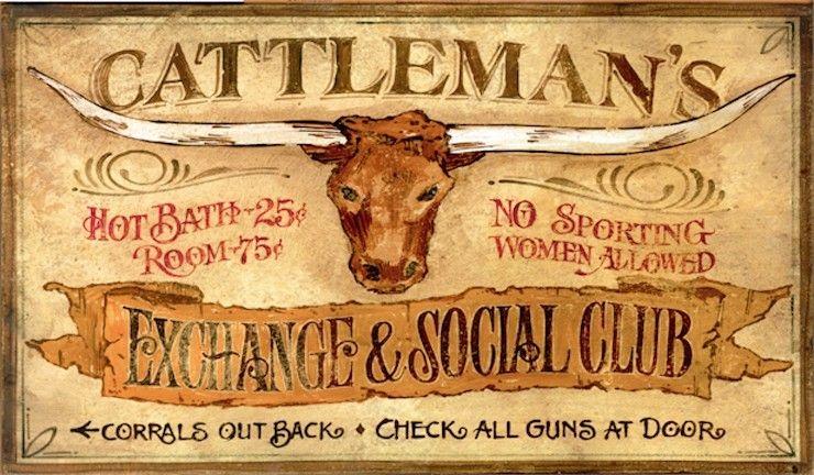 Cattleman S Vintage Western Signs Custom Wood Sign Western Signs Vintage Western Decor Ranch Decor