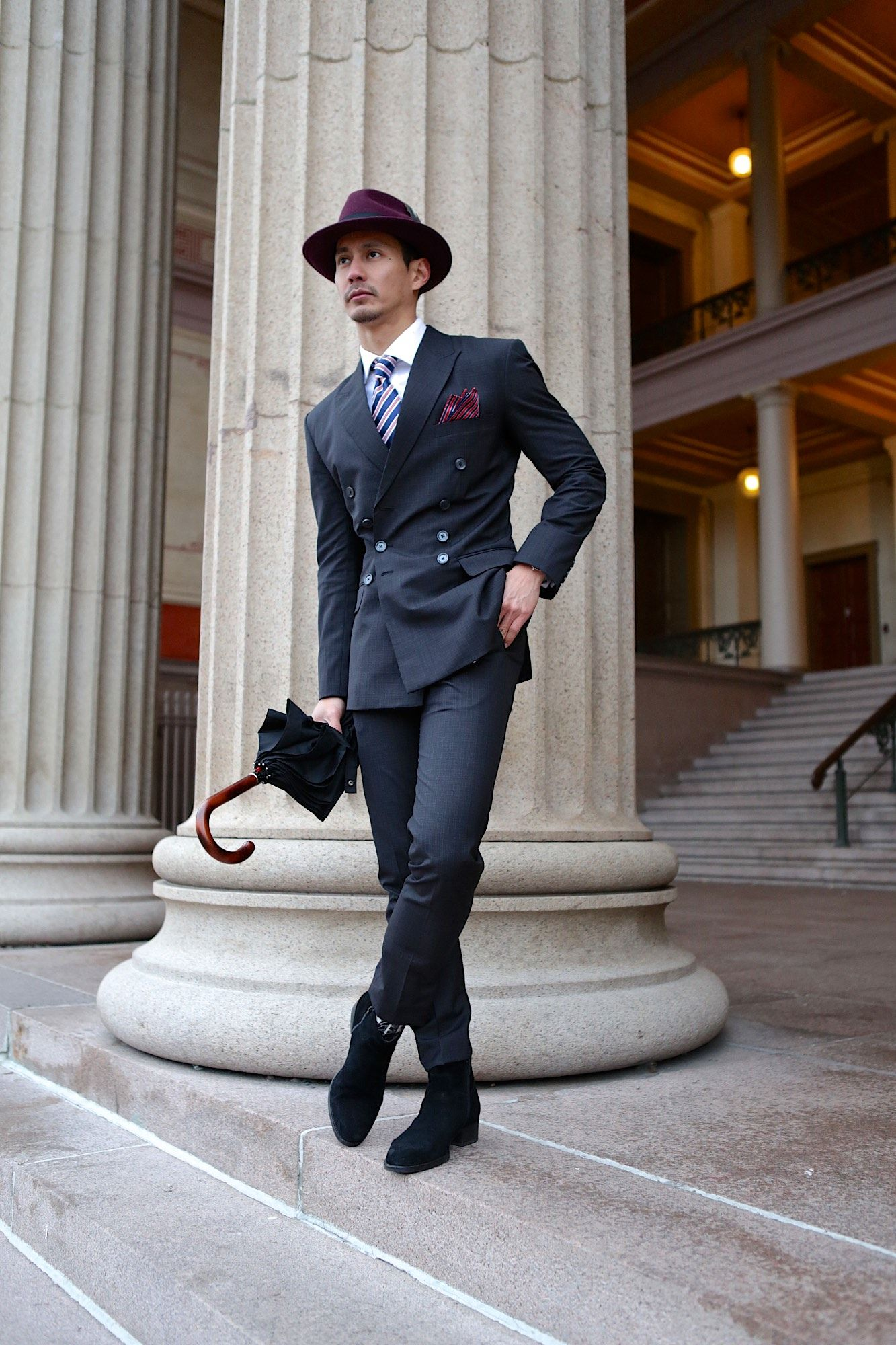 be209882bd Double breasted dark gray suit + striped tie + burgundy fedora + suede Chelsea  boots