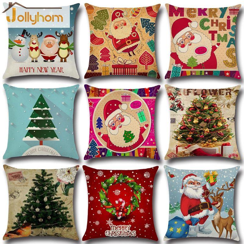 Hot Sale European Style Pillowcase Christmas Household Decor Pillow Cover Car Cushion Cover 9 Co Christmas Cushions Christmas Cushion Covers Linen Pillow Cases