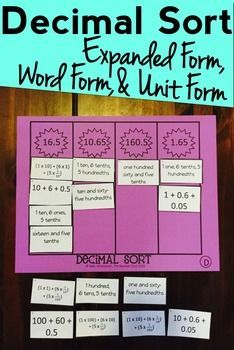 Decimal Sort: Word Form, Expanded Form, and Unit Form: 12 Unique ...