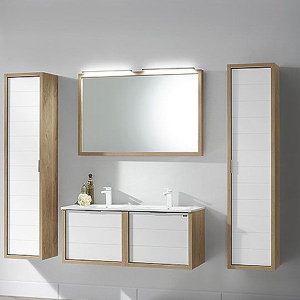 ensemble meuble salle de bain tino 120 double vasque en finition oak et blanc pour un luxe sans. Black Bedroom Furniture Sets. Home Design Ideas