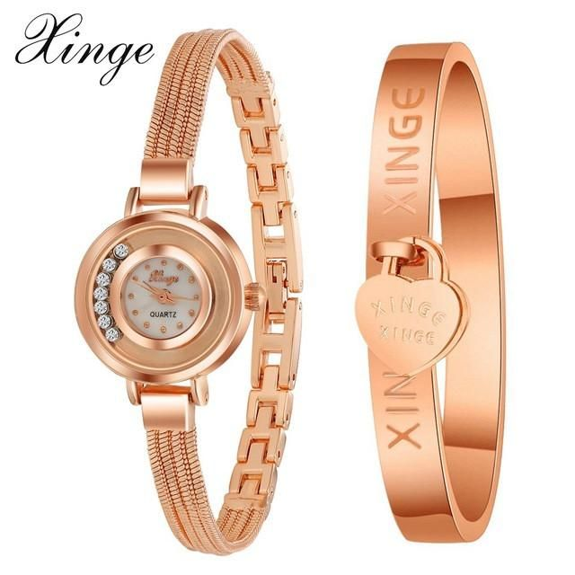 d027efc722e Xinge Famous Brand Luxury Watch Women Fashion Rose Bracelet Watch Set Dress  Jewelry Clock Ladies Casual Quartz Wristwatch