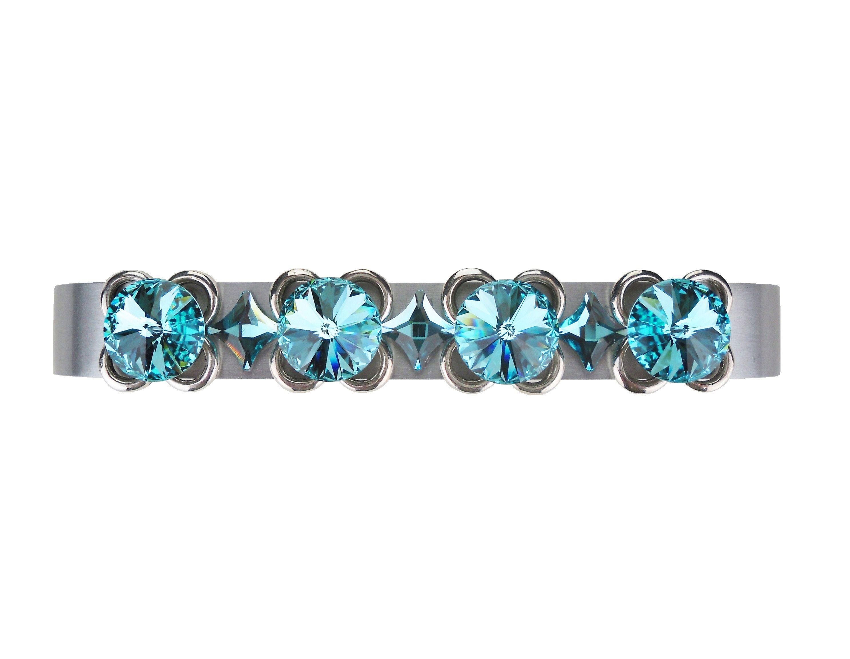 4 Drawer Pull Swarovski Crystal Turquoise Handle 4 Inch Teal