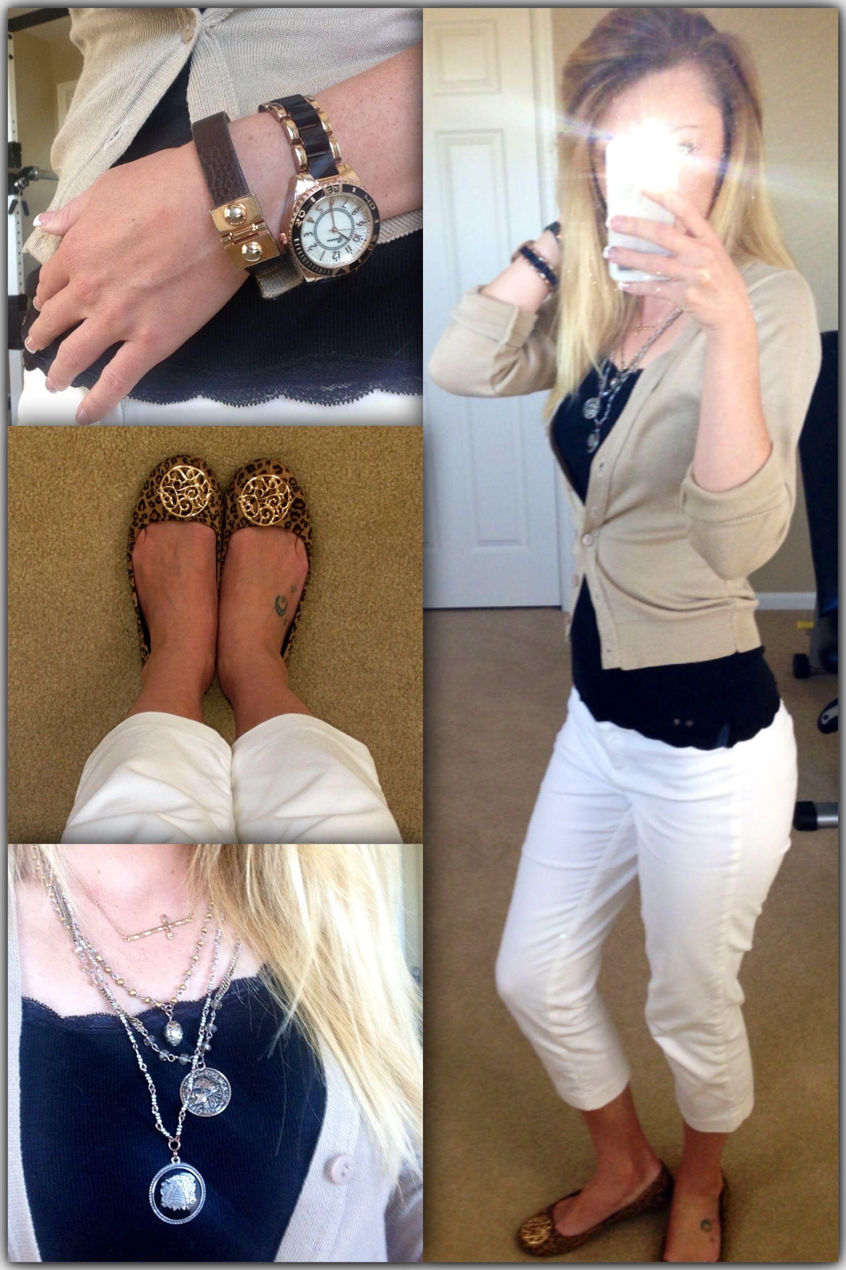 office leopard print. Office Casual Work Outfit : White Slacks, Tan Cardigan, Leopard Print Flats, Gold J
