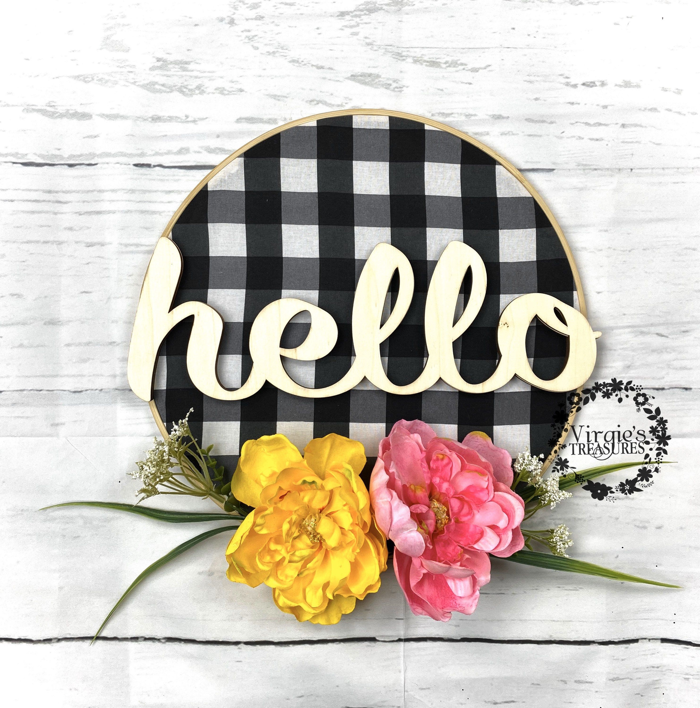 Photo of Spring Wreath, Hello Wreath, Hoop Wreath, Embroidery Hoop Wreath, Easter Wreath, Buffalo Plaid Wreath, Peony Wreath, Wall Decor