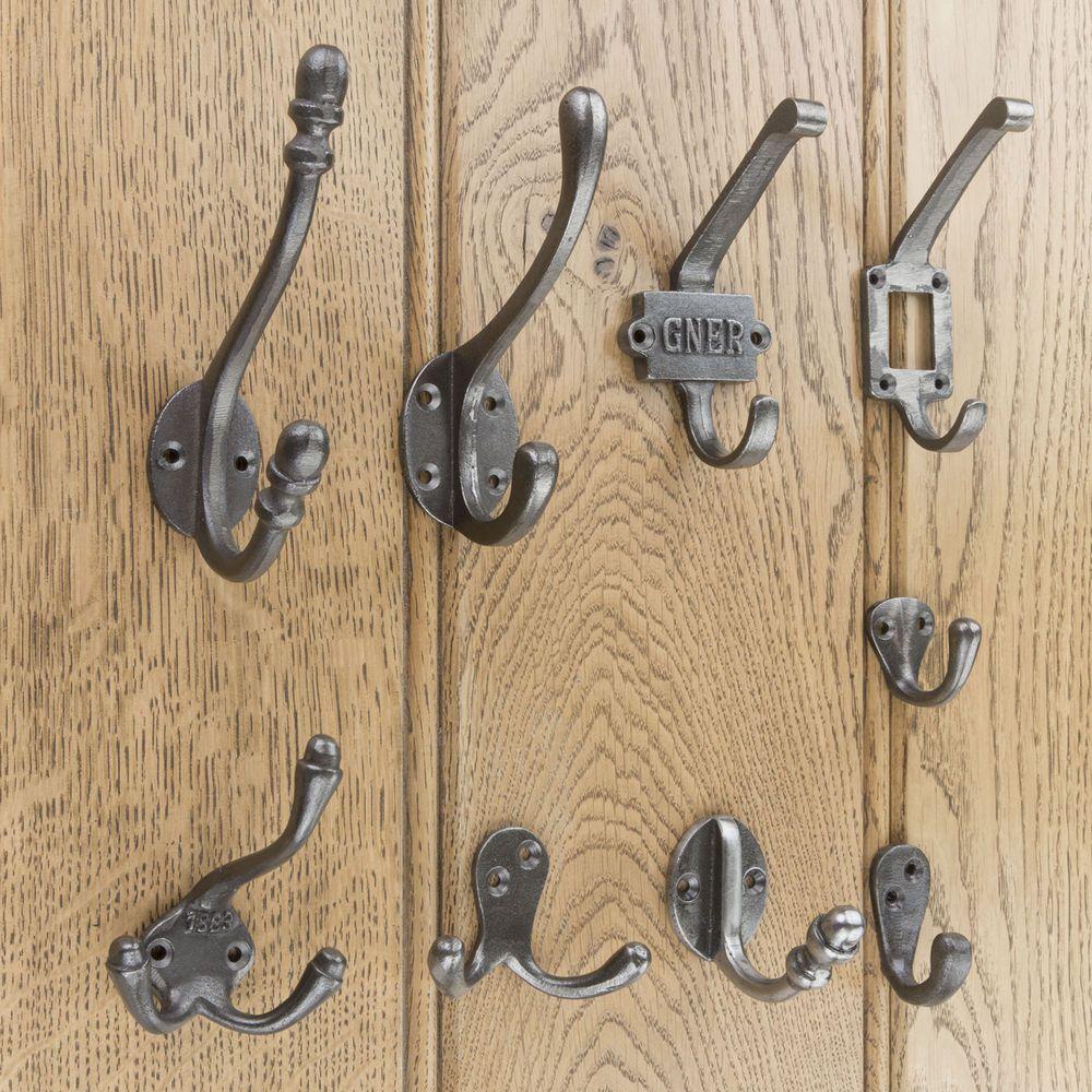 Details about Cast Iron Coat Hooks Antique Iron Hat And Coat Hook Single & Double Robe Hook