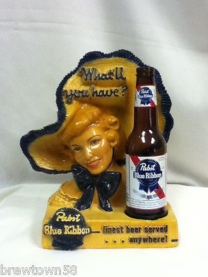 XX8 PABST BEER SIGN BAR SIGNS 1 BLUE RIBBON BONNET LADY STATUE CHALK WARE FIGURE