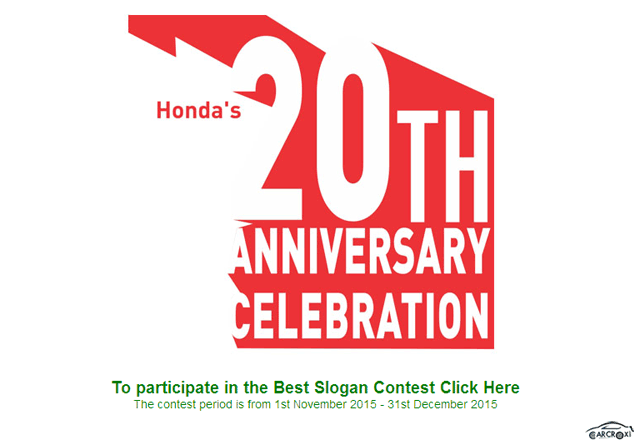 20th Anniversary Best Slogan Contest Is Going On By Honda In India