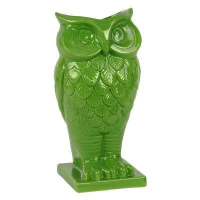 Urban Trends Ceramic Owl Figurine Table Vase on Base - 73072