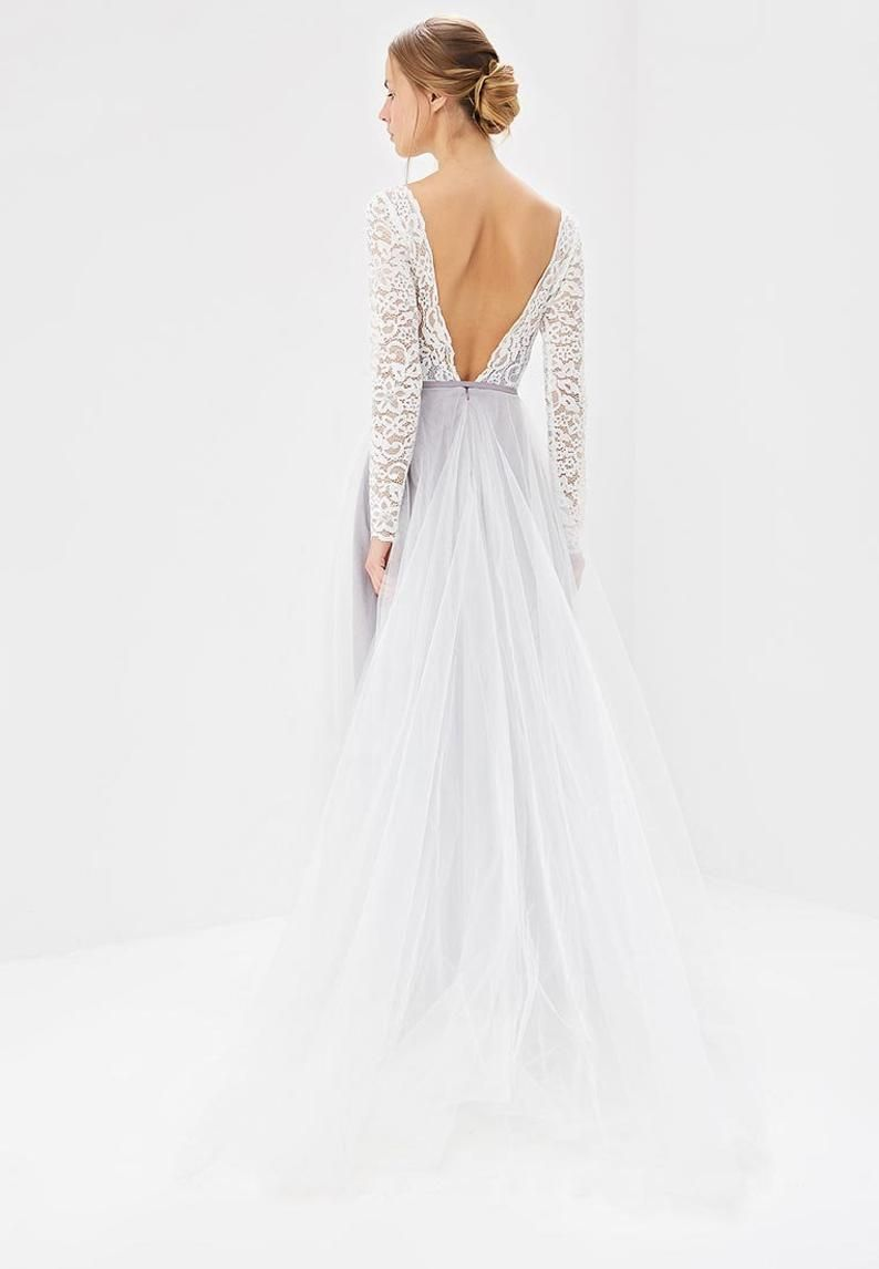 Lace wedding dress open back/Romantic wedding dress /Bohemian wedding dress/2019 trend gown /Lace long sleeve/Open V-Cut Back / Long sleeve