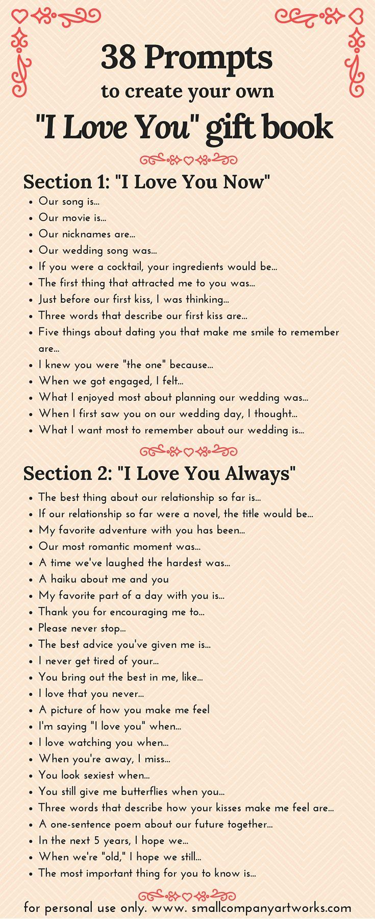 38 I Love You Book Prompts Romantic Scrapbook Book Prompts