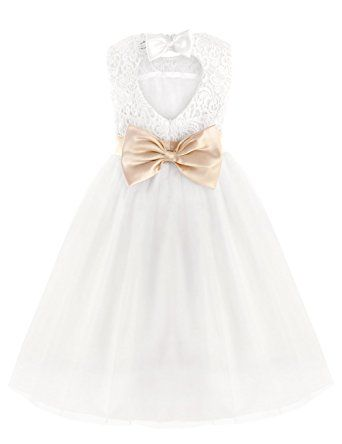 c8af0c386 iEFiEL Girls' Flower Lace Dress Formal Wedding Bridesmaid Party Christening  Dresses, White with bowknot