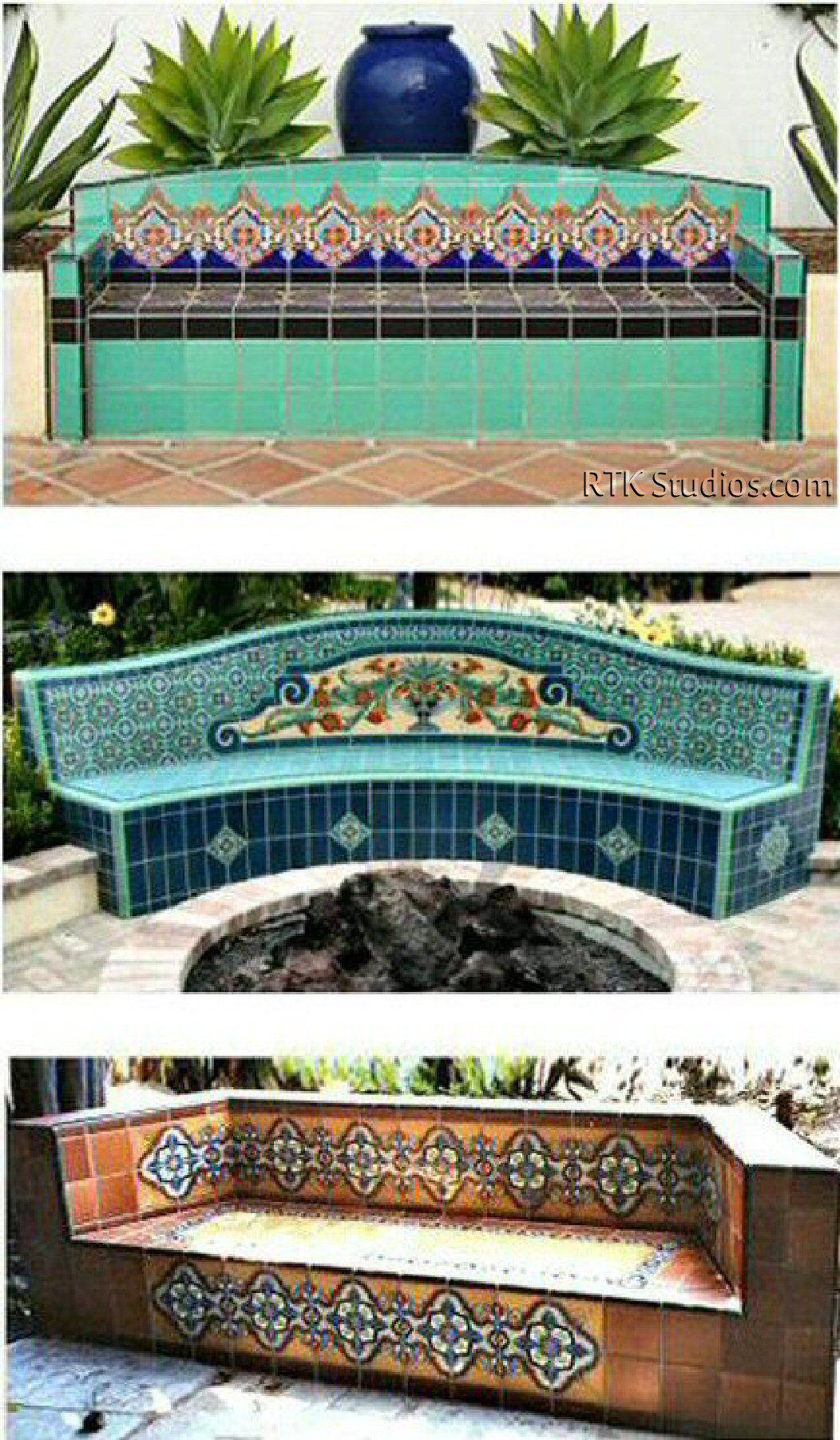 Bancos para el jard n de cer mica decorativa jardines for Casa mexicana muebles