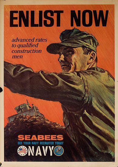 9a6b354512d7f0 DP Vintage Posters - Enlist Now Seabees Navy Original Vietnam War  Recruiting Poster