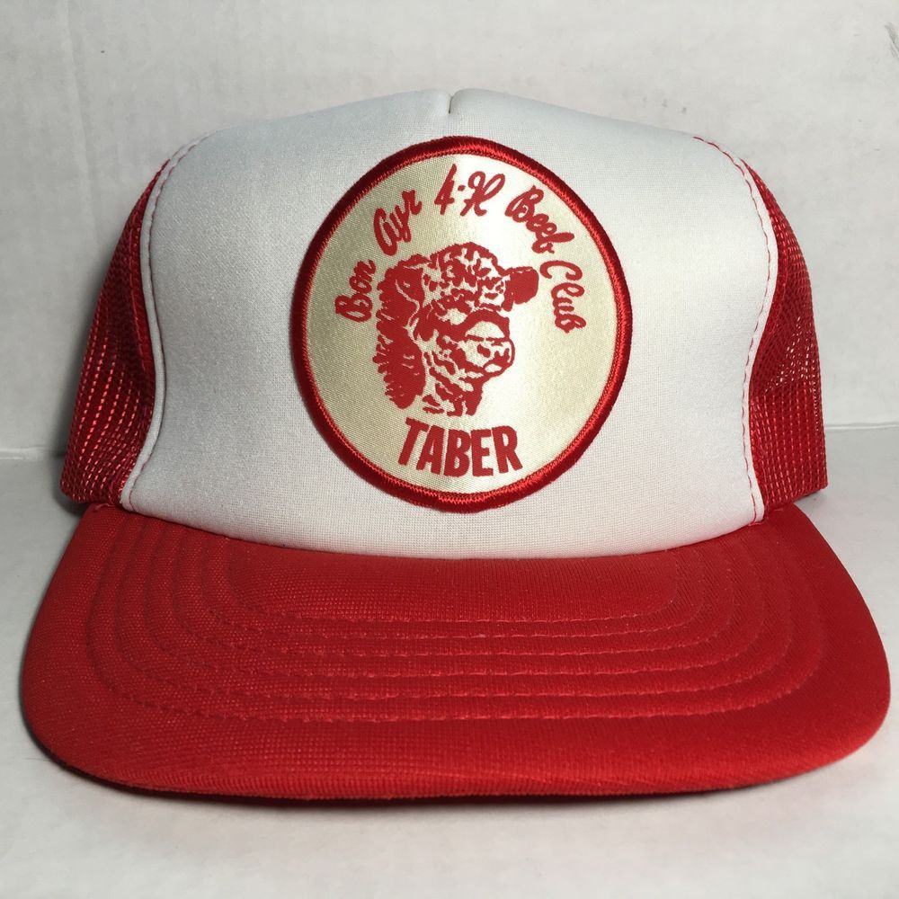 fdf312c9532 Vintage Snapback Trucker Hat 4-H Beef Club Taber  fashion  clothing  shoes   accessories  mensaccessories  hats (ebay link)