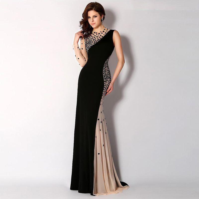 f383197e997 Купить товар Черный и шампанское два цвета вечерние платья асимметричный  вырез труба длиной до пола роскошный кристаллы пром платья в категории  Вечерние ...