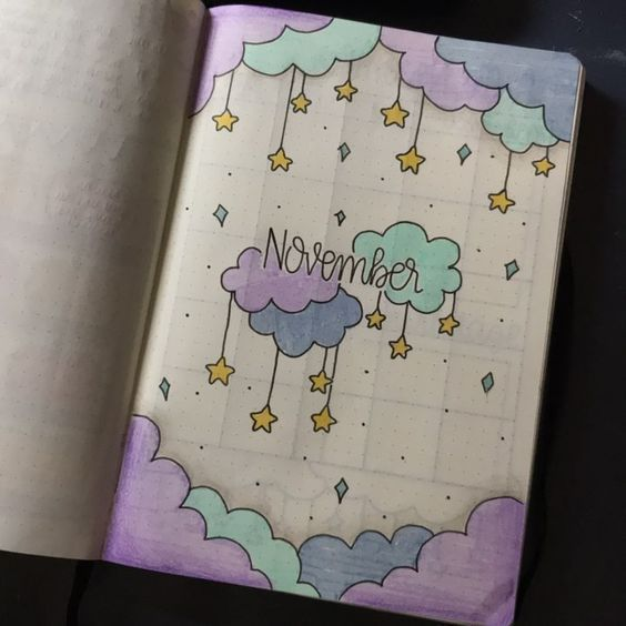 35 Beautiful and Enchanting November Bujo Ideas for Your Bullet Journal #septemberbulletjournalcover