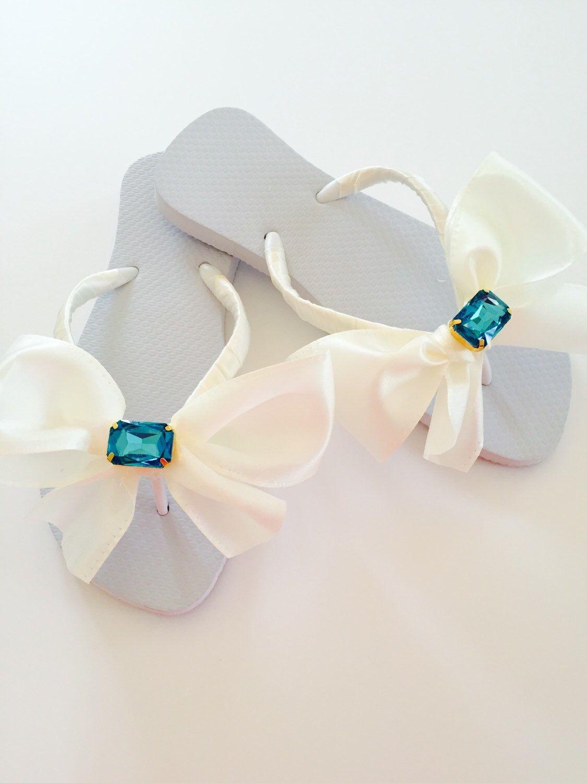 1caa03814 WHITE or IVORY Wedding Flip Flops Wedges.Bridal Flip Flops Shoes.Something