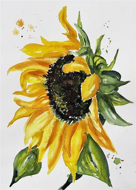 Resultado De Imagen De Sunflower Watercolor Aquarell Sonnenblume