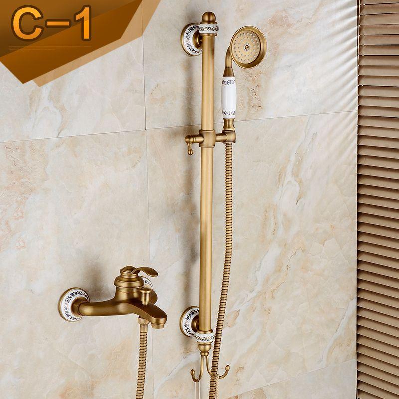 Antique Brass Shower Set Faucet Wall Mounted With Sliding Bar Bathroom Handheld Bathtub Shower Mixer Taps Shower Mixer Taps Bathtub Shower