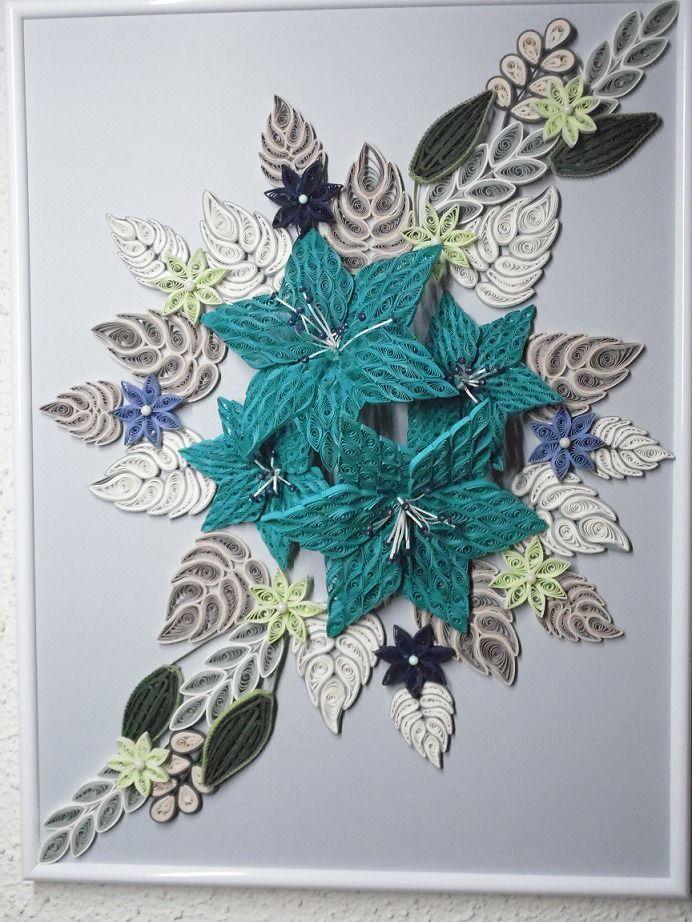 tableau quilling fleurs exotiques bleues d corations murales par lestoilesdelili quilling. Black Bedroom Furniture Sets. Home Design Ideas