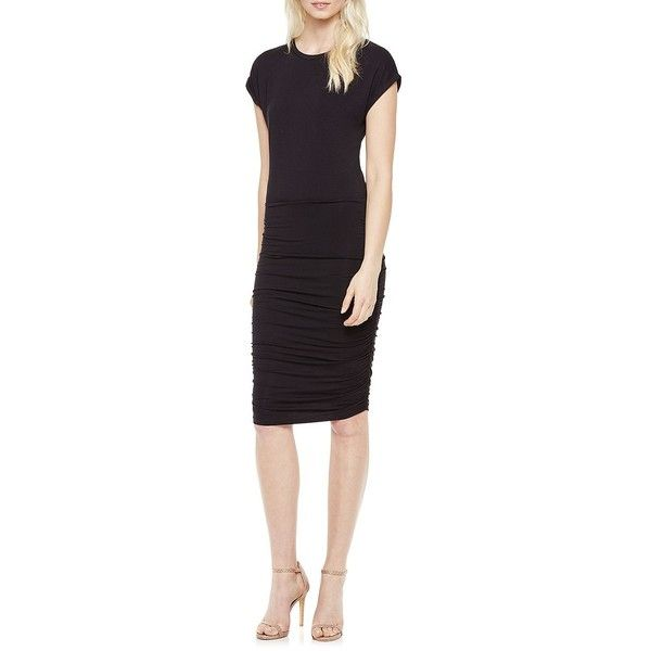 Vince Camuto Cap Sleeved Ruched Sheath Dress ($99) ❤ liked on Polyvore featuring dresses, rich black, ruched dress, cap sleeve short dress, black sheath dress, cap sleeve dress and black cap sleeve dress