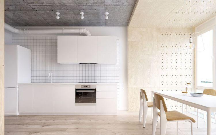 Beton, Holz und weiße Oberflächen in einer minimalistischen Küche ...