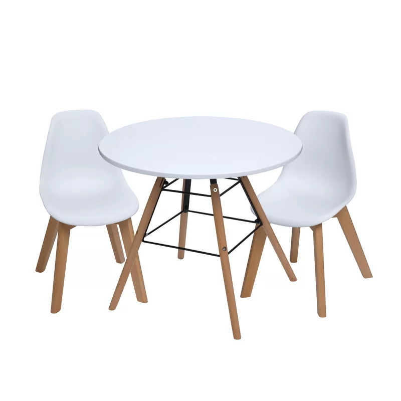 Letendre Kids 3 Piece Round Table And Chair Set In 2020 Round Kids Table Kids Table And Chairs Round Table And Chairs