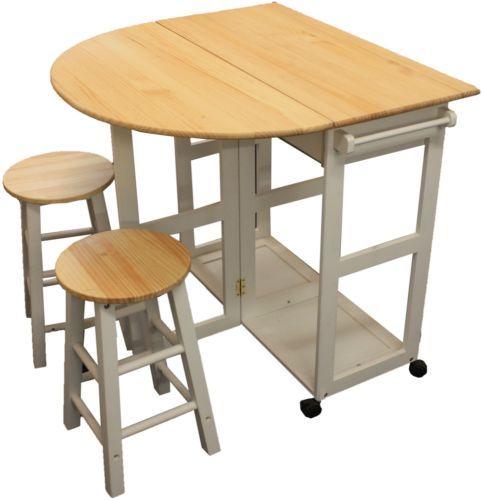 MARIBELLE FOLDING TABLE AND STOOL SET KITCHEN BREAKFAST BAR WHITE | eBay  sc 1 st  Pinterest & Maribelle folding table and stool set kitchen breakfast bar white ...