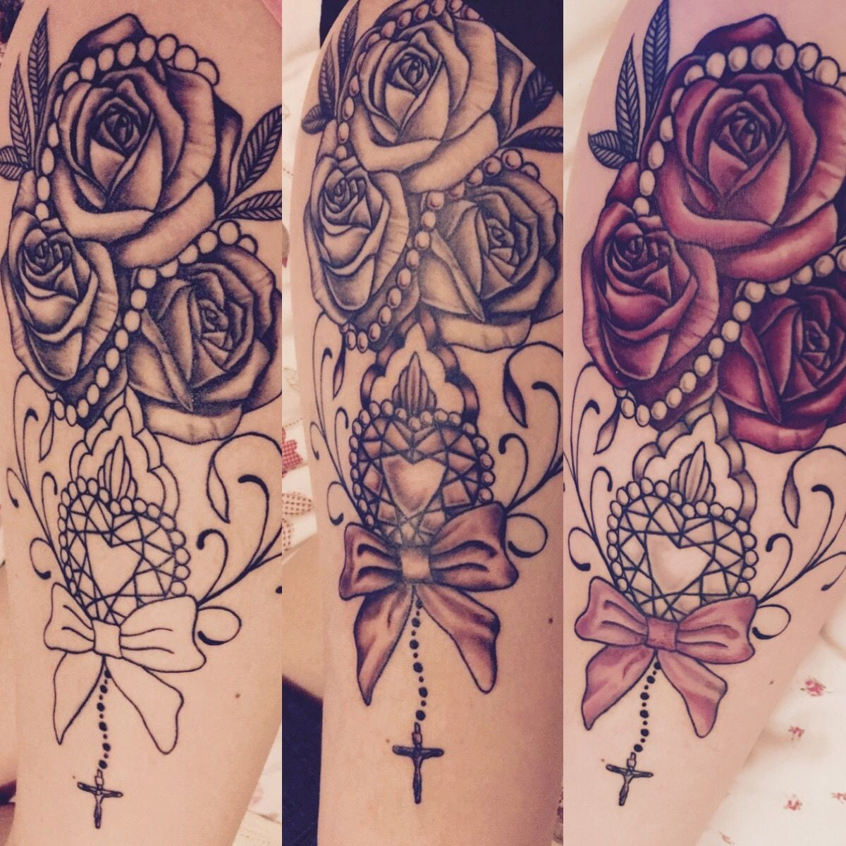 Roses Pearls Pink Diamond Bow And Crucifix Thigh Tattoo Leg Tattoos Pearl Tattoo Bow Tattoo