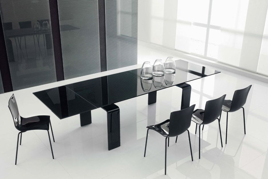 Modern Black Rectangle Tempered Glass Dining Table With Black Polished Metal Leg And Glass Dining Room Table Dining Room Furniture Design Glass Kitchen Tables