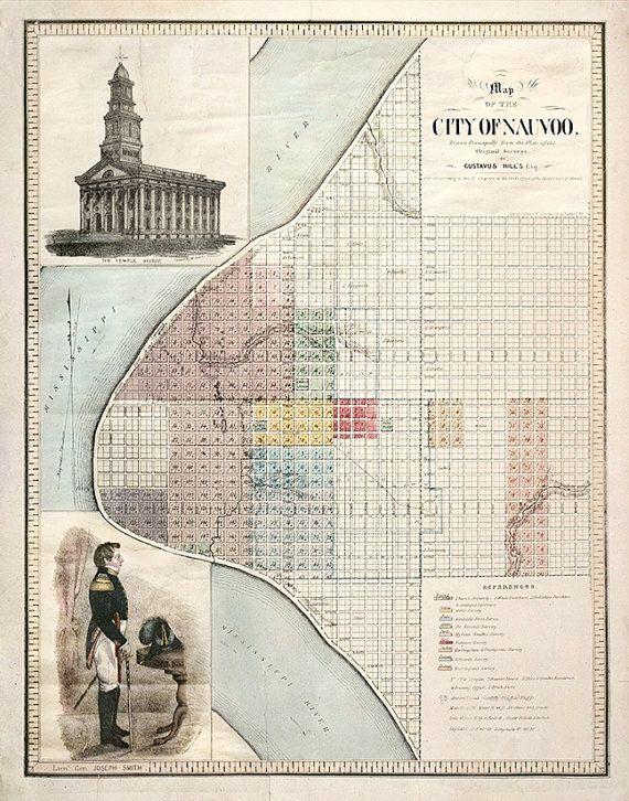 Historic Nauvoo Map 1840 Gustavis Hills Archival Print