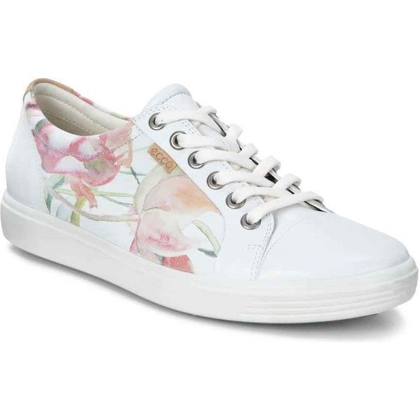 ECCO Women's Soft 7 Sneaker White Floral Print Athletic Shoes & Sneakers  featuring polyvore, women's