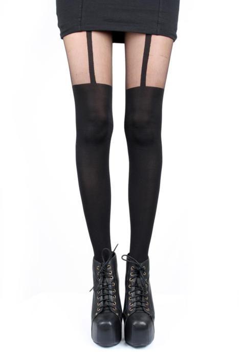 BLACK Mock Stockings /& Suspender Tights One Size Designer Hosiery FREE P+P