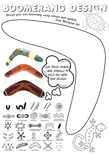 Aboriginal Art Boomerang Design Sheet | Aboriginal Art | Art ...