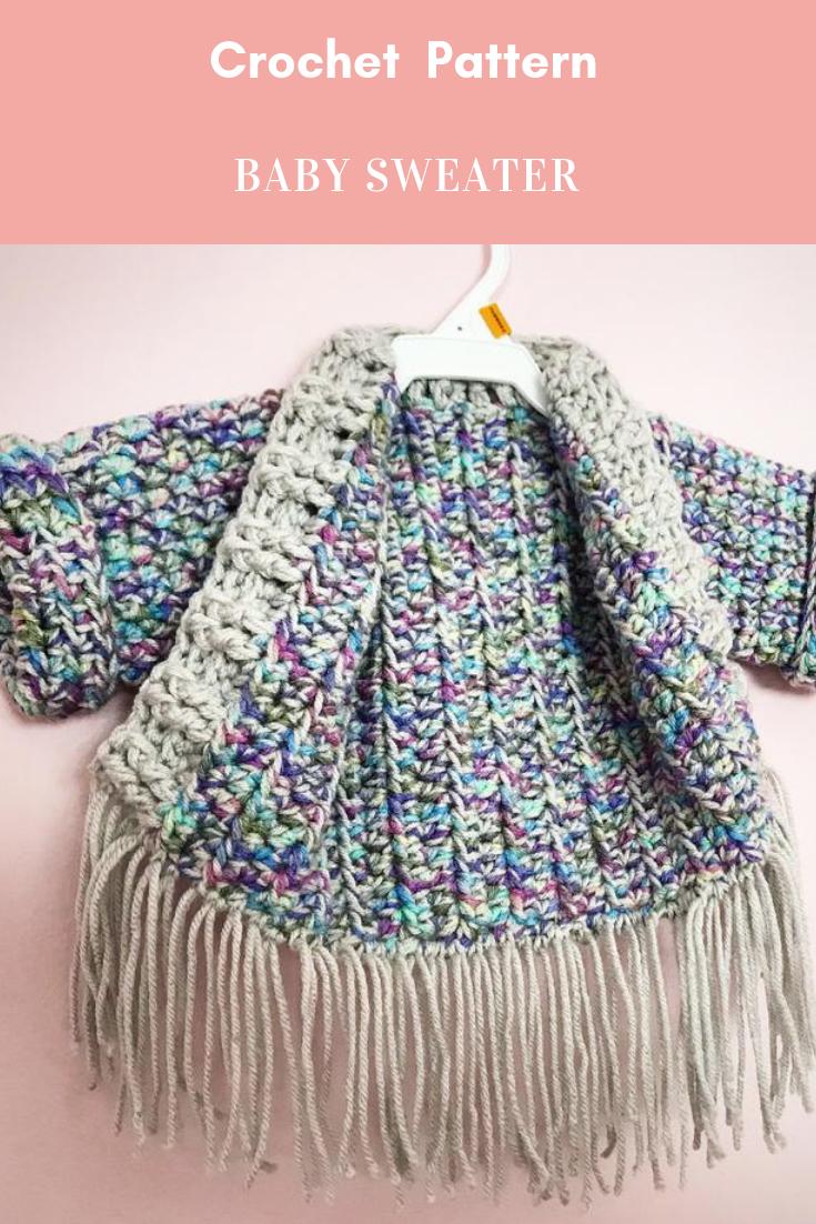 7d61db1a0 Baby Sweater Crochet Pattern  crochetbabysweater  babysweatercrochetpattern   crochetarcade  crochet  crochetpattern  diy