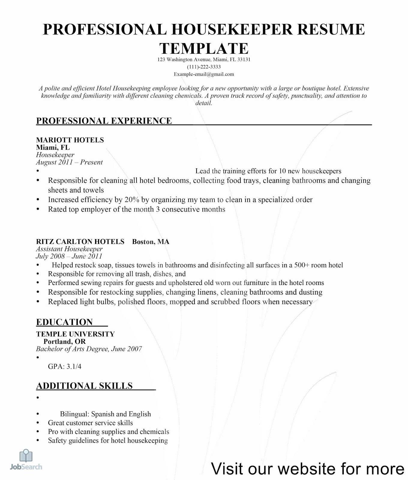 house keeping resume template 2020, housekeeping job brand manager cv examples best format for engineers brief description yourself