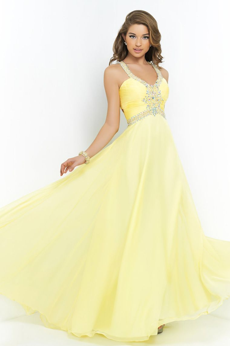 2015 Open Back Halter Prom Dress A Line Sweep Train Chiffon With ...