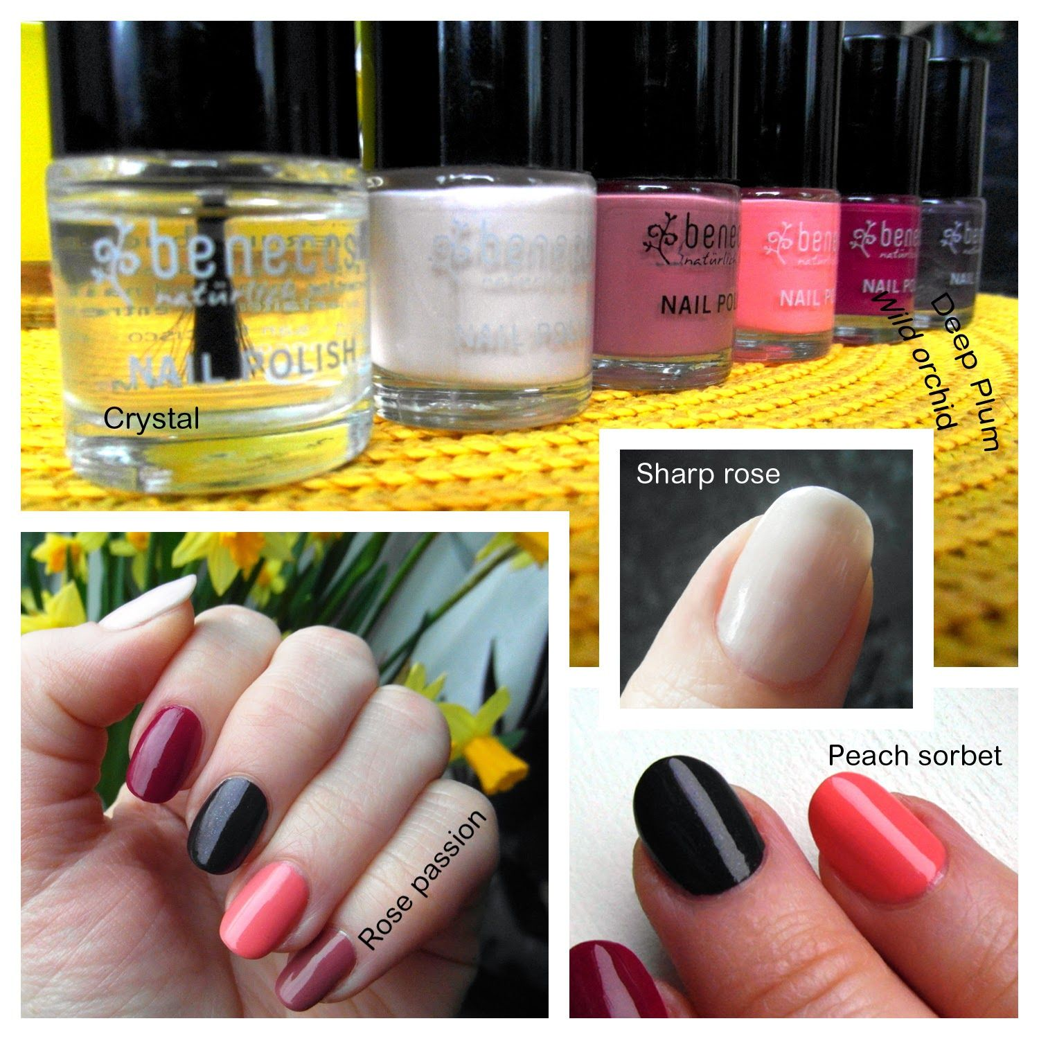 Benecos nail polish 6 colors review: Crystal, Sharp rose, Rose passion, Peach sorbet, Wild orchid, Deep Plum.
