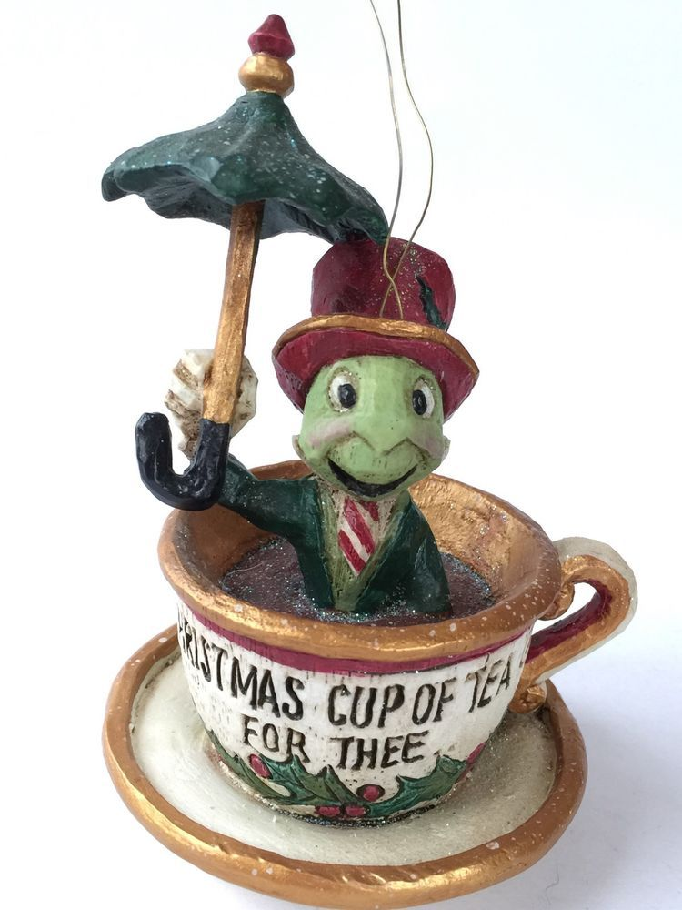 DISNEY Jiminy Cricket CHRISTMAS ORNAMENT Cup Of Tea For Thee PAM ...