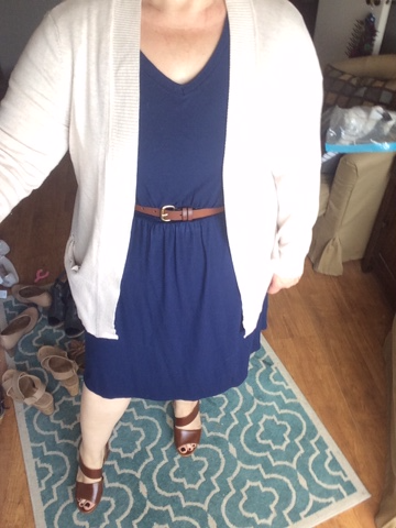 Navy Dress with Oatmeal Cardigan and Cognac Leather Platforms