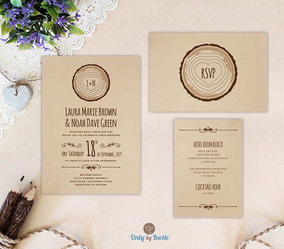 Printed Rustic Country Wedding Invitation Tree Stump Wedding Etsy Printing Wedding Invitations Rustic Wedding Invitation Set Wedding Invitations Rustic
