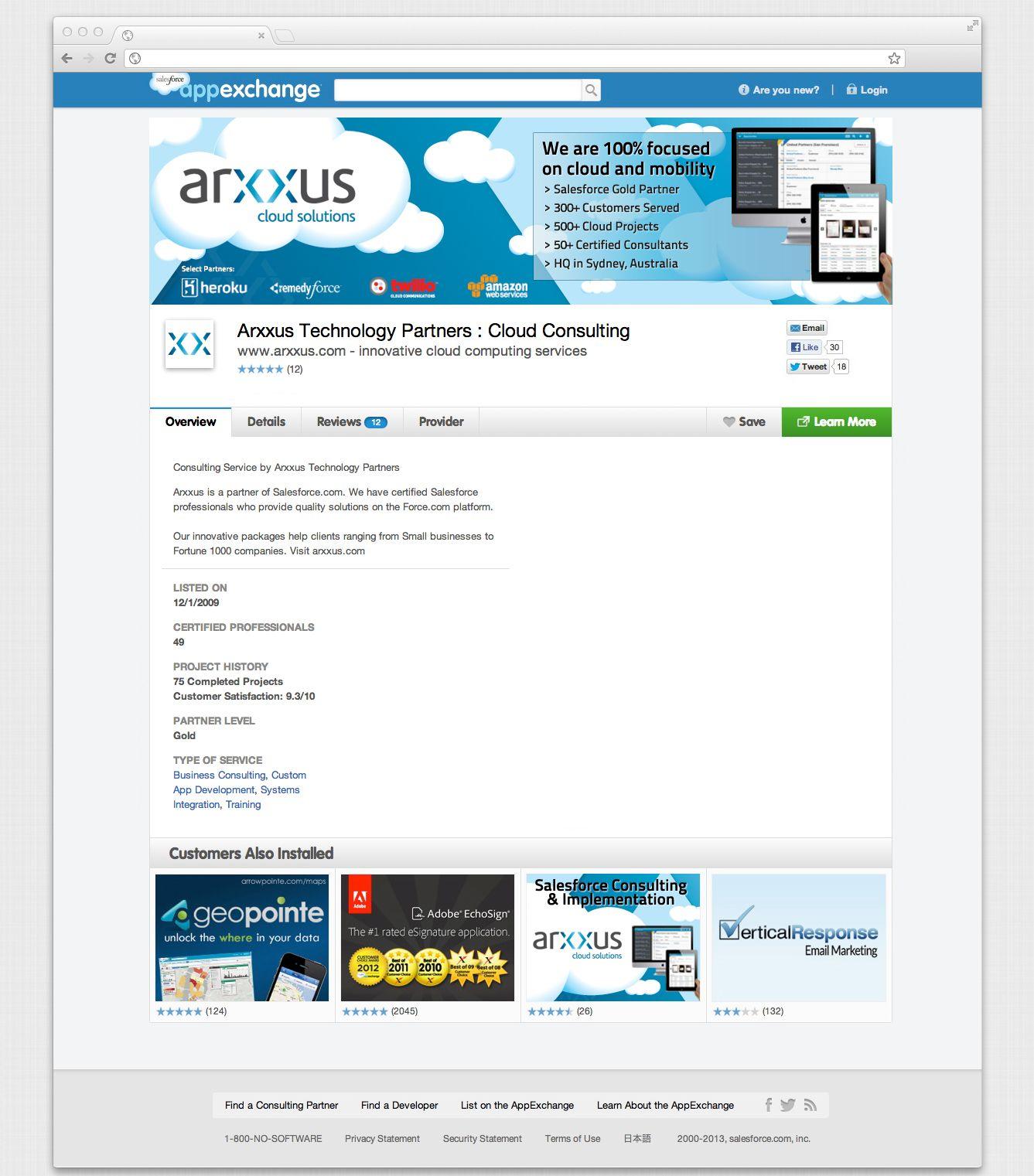 Salesforce AppExchange landing page. Landing page design