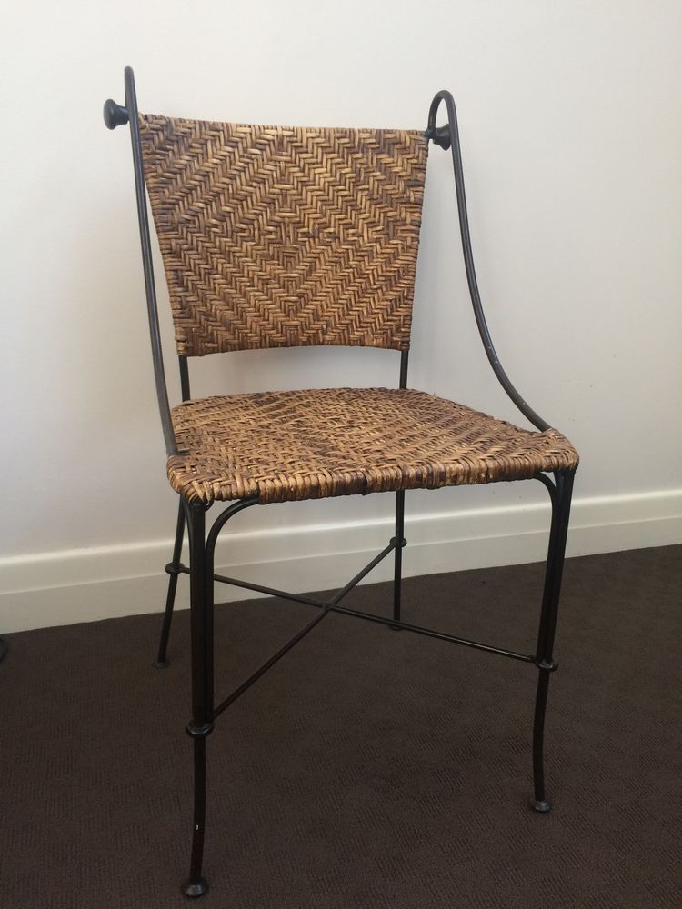 4 X Dining Chairs   Wrought Iron And Cane / Wicker