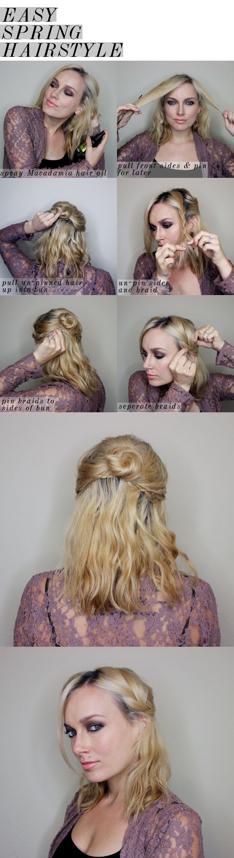 easy spring half updo for medium length hair | party