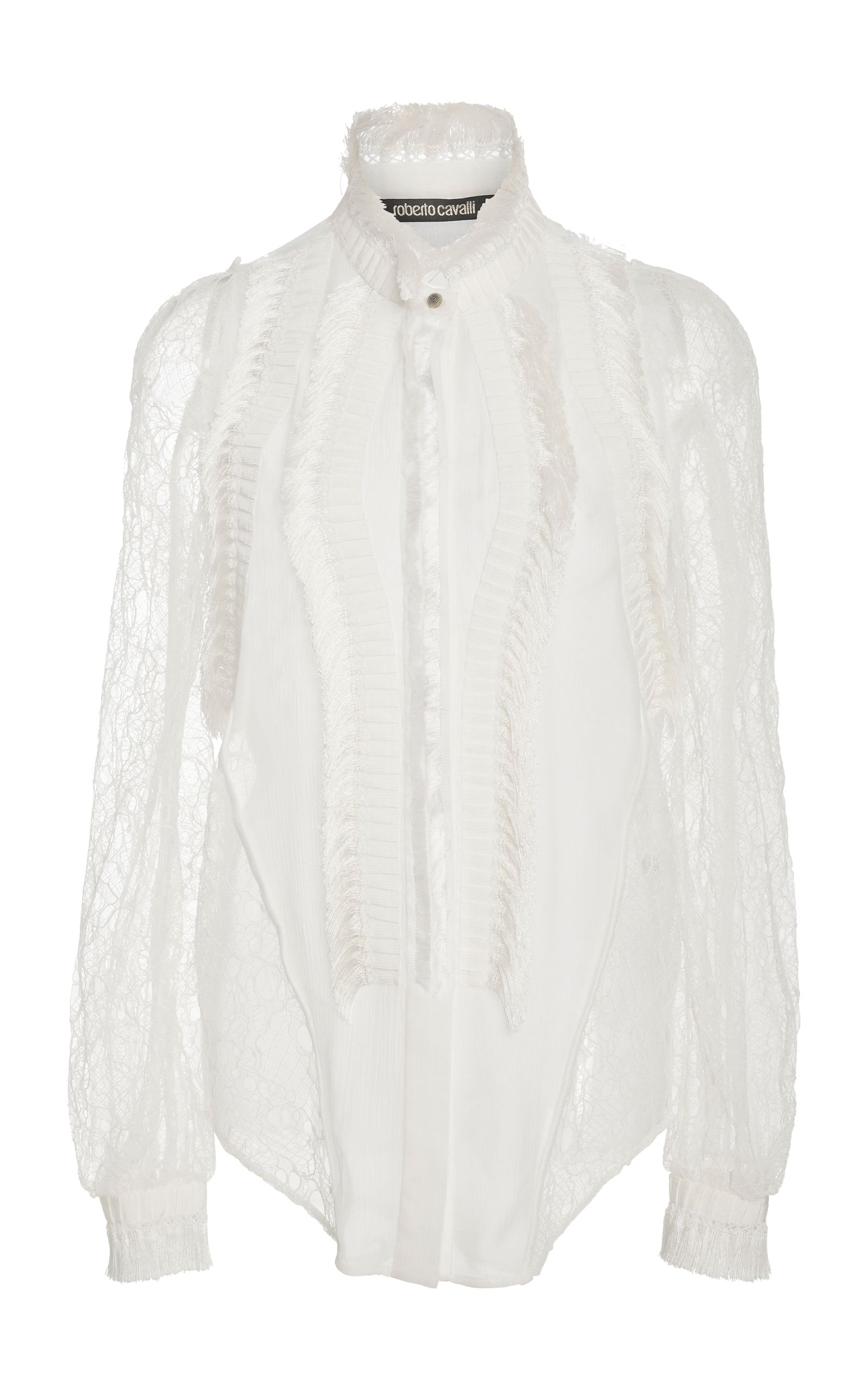 8cd0893031e2a3 Lace-Paneled Silk Blouse by ROBERTO CAVALLI Now Available on Moda Operandi