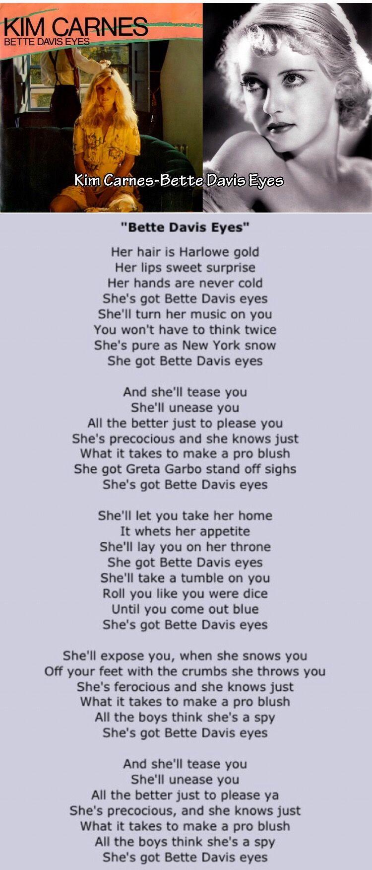 Kim Carnes . Bette Davis Eyes   Bette davis eyes, Great song ...